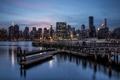 Картинка ночь, город, City, New York, Gantry Park