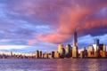 Картинка облака, закат, дома, Нью-Йорк, небоскребы