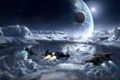 Картинка облака, полет, планета, спутник, корабли, Star Citizen