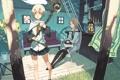 Картинка дом, девушки, диван, животное, растение, лампа, аниме