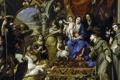 Картинка картина, религия, мифология, Окруженная Христианскими Добродетелями и Святыми, Мадонна с Младенцем, Claudio Coello