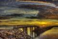 Картинка небо, облака, мост, краски, hdr, зарево, дамба
