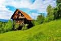 Картинка трава, пейзаж, природа, домик, Словения, Trbovlje