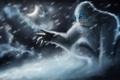 Картинка снег, монстр, арт, пасть, клыки, мех, красавчик