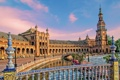 Картинка небо, Валенсия, дворец, мостик, Испания, канал