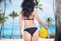 Картинка песок, пляж, купальник, тропики, пальмы, океан, мяч