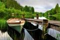 Картинка берег, деревья, причал, отражение, лодка, озеро
