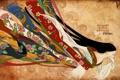 Картинка цвета, девушка, цветы, абстракция, полосы, надпись, одежда