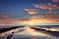 Картинка море, солнце, закат, берег, Вечер