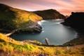 Картинка горы, Англия, пирс, залив, гавань, Корнуолл, Боскасл