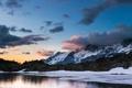 Картинка зима, снег, горы, природа, озеро