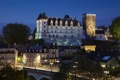 Картинка ночь, мост, огни, замок, Франция, башня, дома