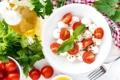 Картинка помидоры, петрушка, салат, базилик, моцарелла