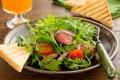 Картинка Закуска, Салат с жареной говядиной и помидорами, легкое блюдо
