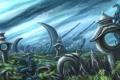 Картинка небо, трава, звезды, пейзаж, дракон, арт, сооружения