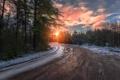 Картинка зима, дорога, лес, закат