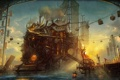 Картинка морда, люди, корабль, здания, арт, порт, погрузка