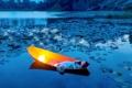 Картинка девушка, озеро, настроение, лодка