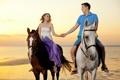 Картинка море, девушка, побережье, лошади, парень