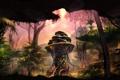 Картинка лес, деревья, скала, растения, колонна, поселение, грот