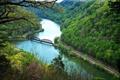 Картинка лес, пейзаж, мост, природа, река, фото