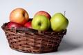 Картинка корзина, яблоки, зеленые, красные, фрукты