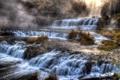 Картинка осень, лес, туман, камни, скалы, водопад, каскад