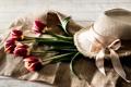 Картинка цветы, шляпа, лента, тюльпаны
