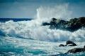 Картинка волны, пена, вода, брызги, камни, океан, скалы