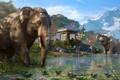 Картинка горы, Far Cry 4, озеро, слоны