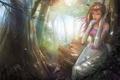 Картинка лес, трава, девушка, деревья, ушки