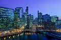 Картинка ночь, мост, река, небоскребы, вечер, Чикаго