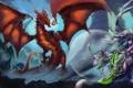 Картинка Дракон, пещера, схватка, воительницы