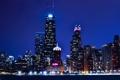 Картинка ночь, огни, небоскребы, Чикаго, USA, США, Америка