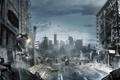 Картинка город, люди, улица, бой, развалины, Inversion