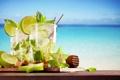 Картинка море, пляж, лайм, напиток, beach, sea, drink