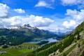 Картинка долина, поселок, дома, горы, небо, озеро