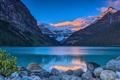 Картинка зима, лес, горы, озеро, камни, рассвет, берег