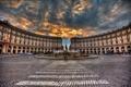 Картинка небо, дома, Рим, Италия, фонтан, мостовая, площадь Республики