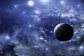 Картинка планета, живопись, небо, спутники