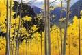 Картинка пейзаж, осень, небо, рисунок, листва, деревья, аспен