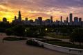 Картинка закат, город, дома, Иллиноис, парк, Чикаго