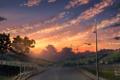 Картинка небо, фото, забор, живопись, дорога, природа, картина