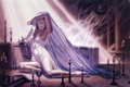 Картинка девушка, рисунок, свечи, арт, склеп, Dorian Cleavenger, Death Of A Vampire