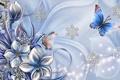 Картинка цветок, коллаж, бабочка, снежинка