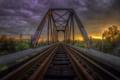 Картинка пейзаж, закат, мост, железная дорога