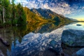 Картинка США, камни, лес, озеро, берег, деревья, горы