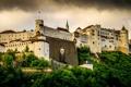 Картинка зелень, тучи, Австрия, крепость, Festung Hohensalzburg, Хоэнзальцбург