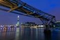 Картинка ночь, река, Англия, Лондон, здания, вечер, освещение