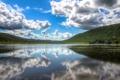 Картинка облака, деревья, озеро, отражение, холмы